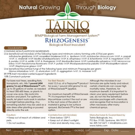 RhizoGenesis Product label